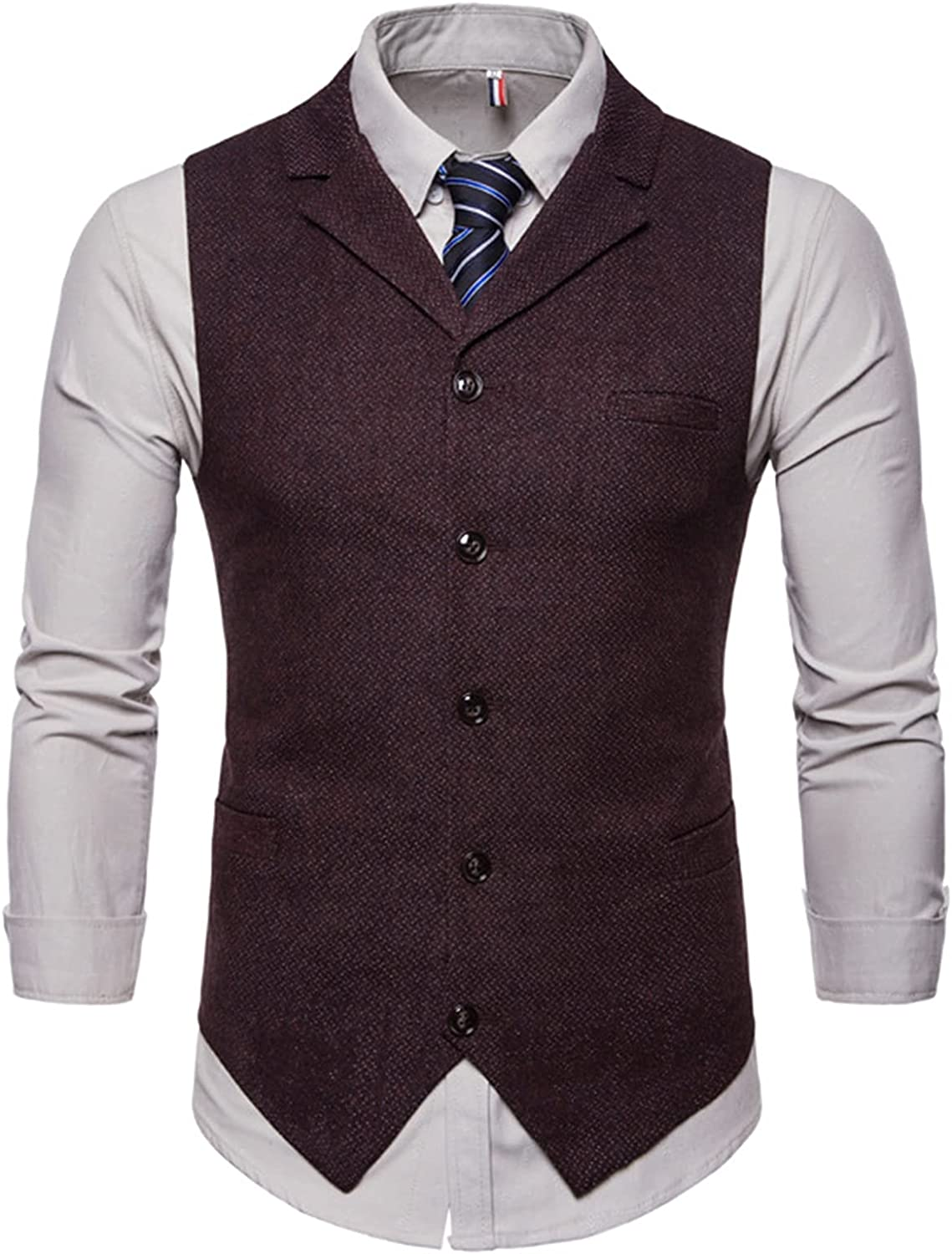 EverNight Mens Casual Waistcoats,Slim Fit Waistcoat Formal Suit Vest,Formal Wedding Party 5 Buttons Waistcoat