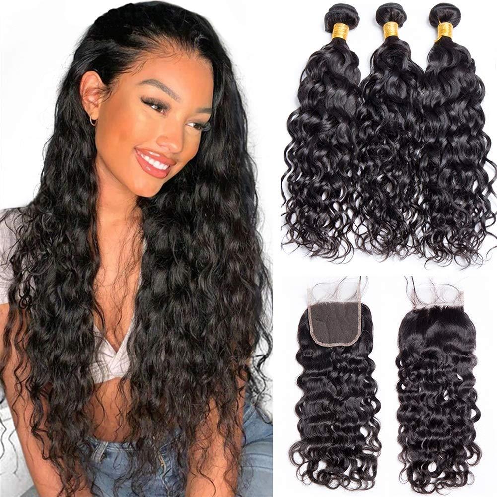 Lemoda Brazilian Water Wave 10A Hair High order 4x4 With Par Bundles Free OFFicial store 3