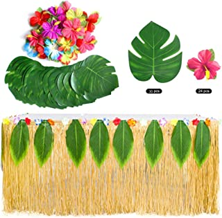 MerryNine Hawaiian Party Decorations Set Including 9ft Table Skirt 20 Pieces Tropical Palm Leaves Gift 5 Pieces Hook Loop