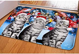 Funny Dogs&Cats with Hat Pattern Floor Mats Rug Christmas Doormat for Entrance Way Animal Area Rug Xmas Doormat Inside Sof...