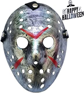 Junyulim Jason Voorhees Mask Cosplay Mask Halloween Mask for Masquerade Party Bar Cosplay Halloween (Jason Mask Silver)
