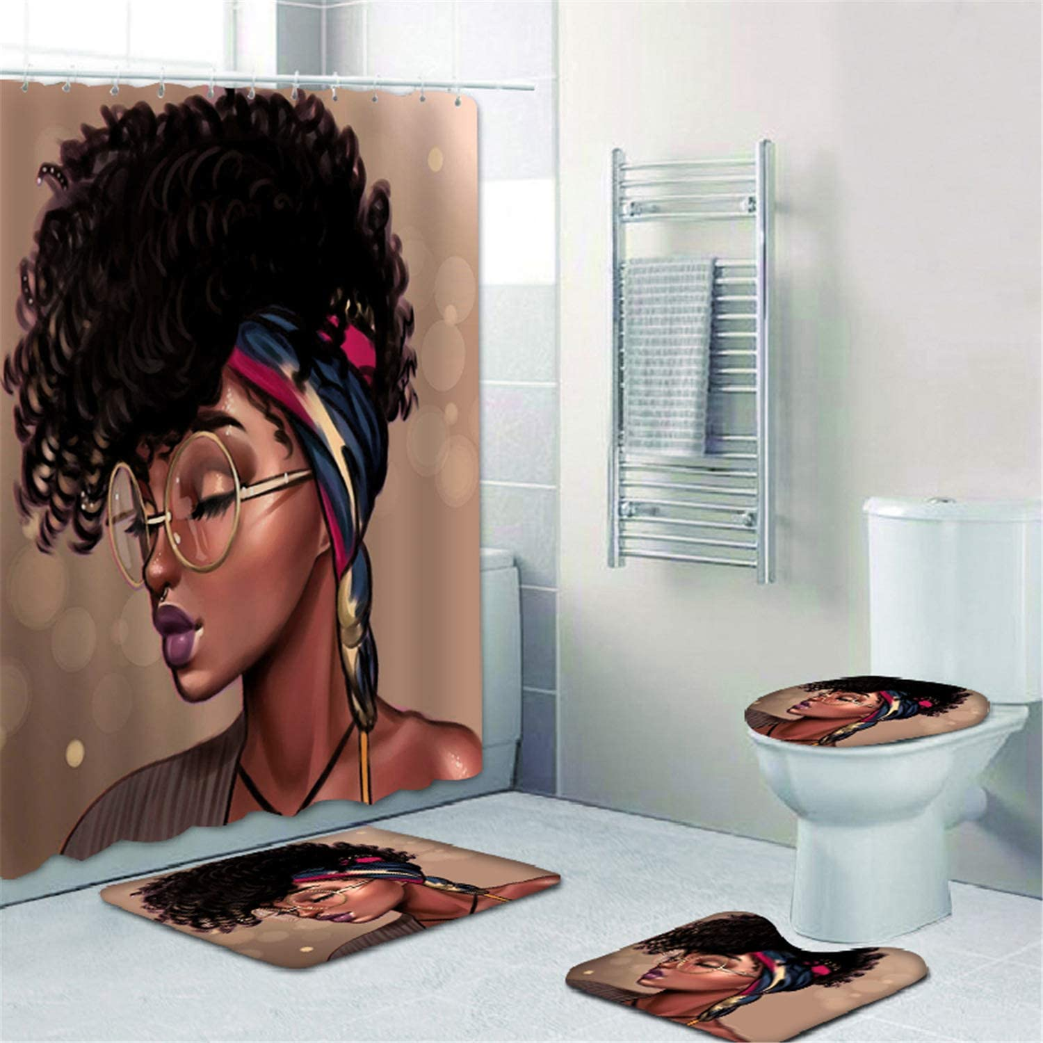 NMPPTM Afro African Women National products Shower American Wo Now free shipping Set Curtain