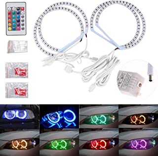 Ricoy 131MM RGB 5050 Flash LED SMD For Bmw E36 E38 E46 MultiColor Colourful Halo Rings Angel Eyes Kit Xenon Headlight With Remote Control (Pack of 4)