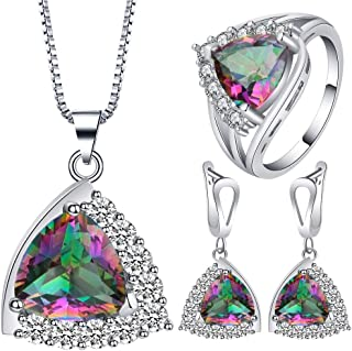VPbao Plated 925 Sterling Silver CZ Stainless Steel Necklace Earrings Ring Set Multicolor