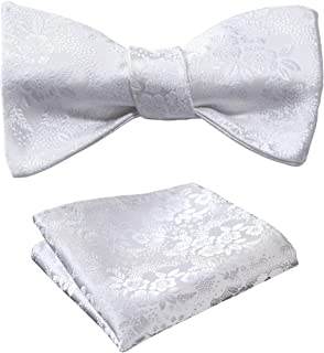 Hisdern Herren Floral Self Bow Tie Taschentuch Hochzeit Bowtie & Einstecktuch Set