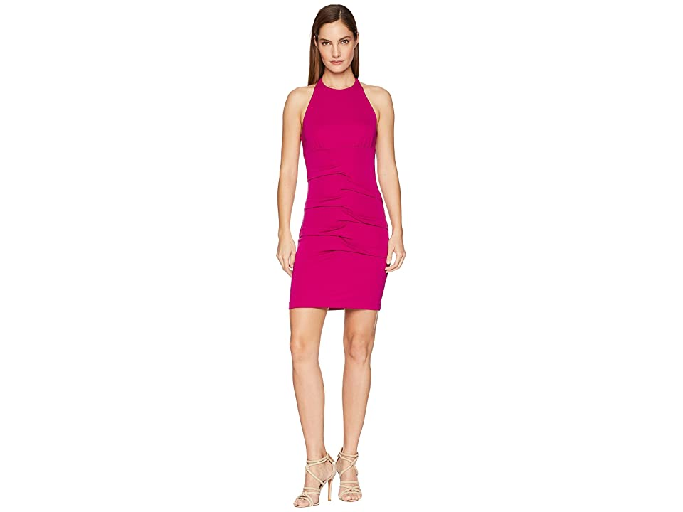 Nicole Miller Halter Tidal Pleat Dress (Pinkberry) Women