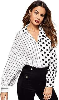 Floerns Women's Long Sleeve V Neck Polka Dot and Stripe Shirt Blouse