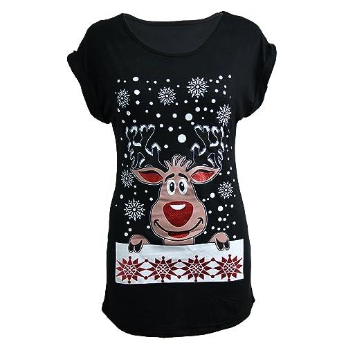 Womens Ladies Christmas Glitter T Shirt Reindeer Santa Snowman Print Xmas  Tops 5d0da9d48