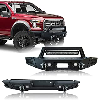 Hunter Texture Black Ford Front and Rear Bumper for 09-14 Ford F-150 with 9X LED Lights w/Winch Plate and D-rings