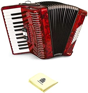 Hohner 1304-RED 26 Key Accordion, 48 Bass Style Keyboard Piano Accordion in Red Bundle with Zorro Sounds piano accordion cloth