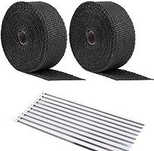 ANTS PART 20Pcs Ties + 2 Roll x 50FT Black Motorcycle Exhaust Heat Wrap Roll Fiberglass Heat Shield Tape (2 Roll + 20 Ties Kit)