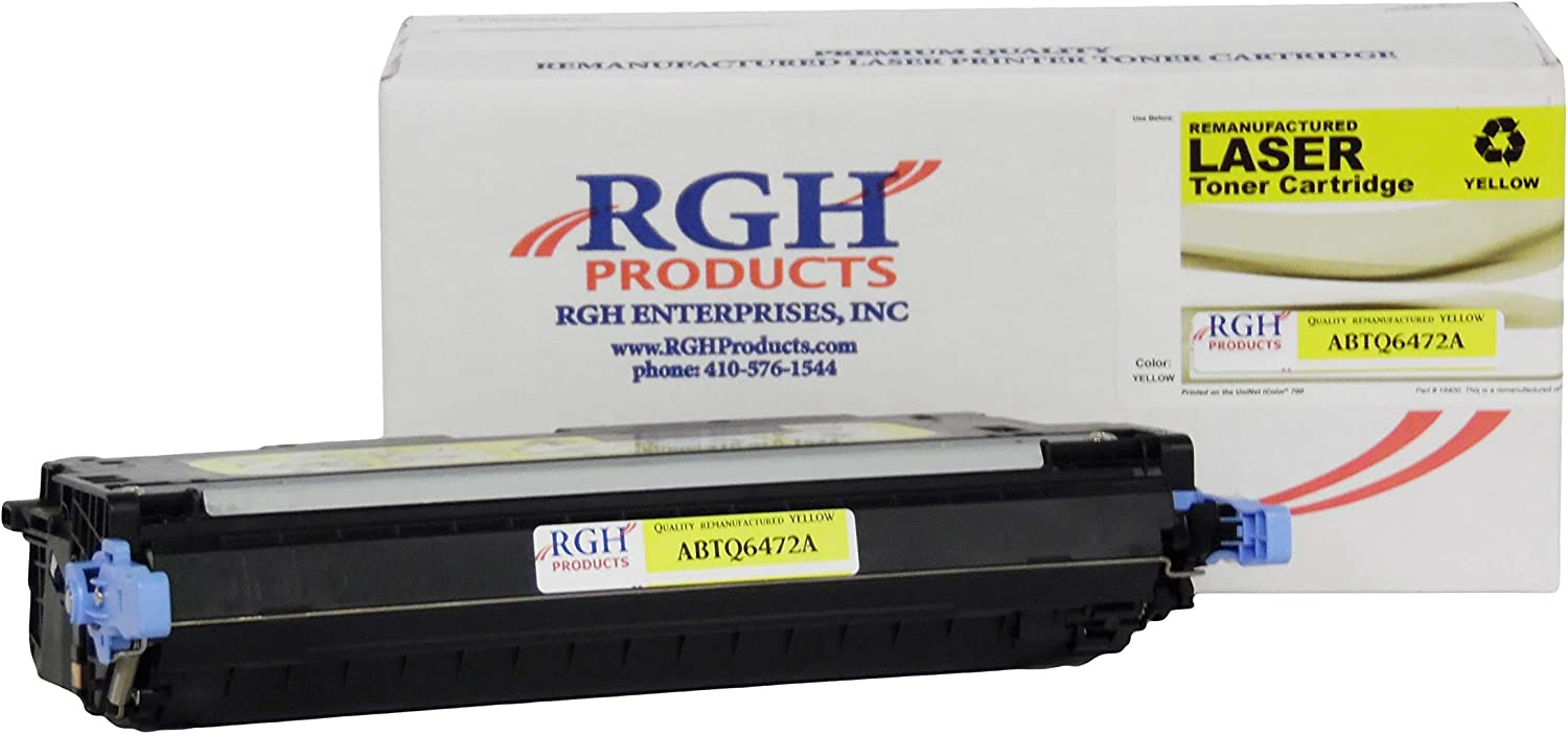 RGH Products Remanufactured Toner Cartridge ABTQ6472A Tray Toner Cartridge Replacement for HP Q6472A Printer Yellow