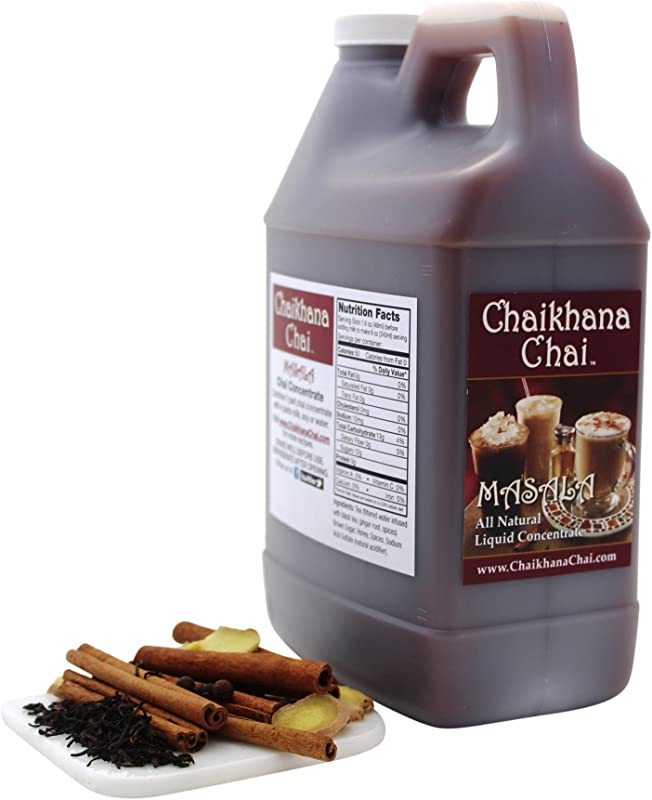 Chaikhana Chai Spicy Masala Chai Concentrate Slow Brewed With Organic Black Tea Ginger And Fresh Crushed Spices 1 2 Gallon Makes 40 8 Oz Drinks