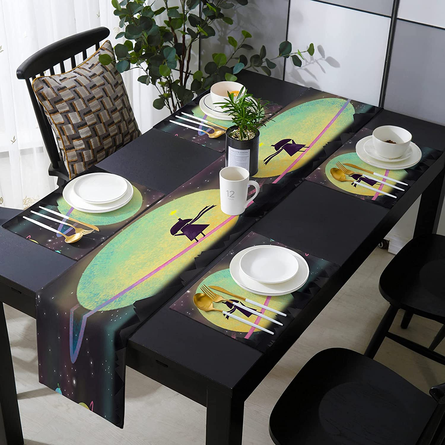 13 x 90 Inch Table shop Runner with Popular Fa Placemats - 6 Halloween of Set