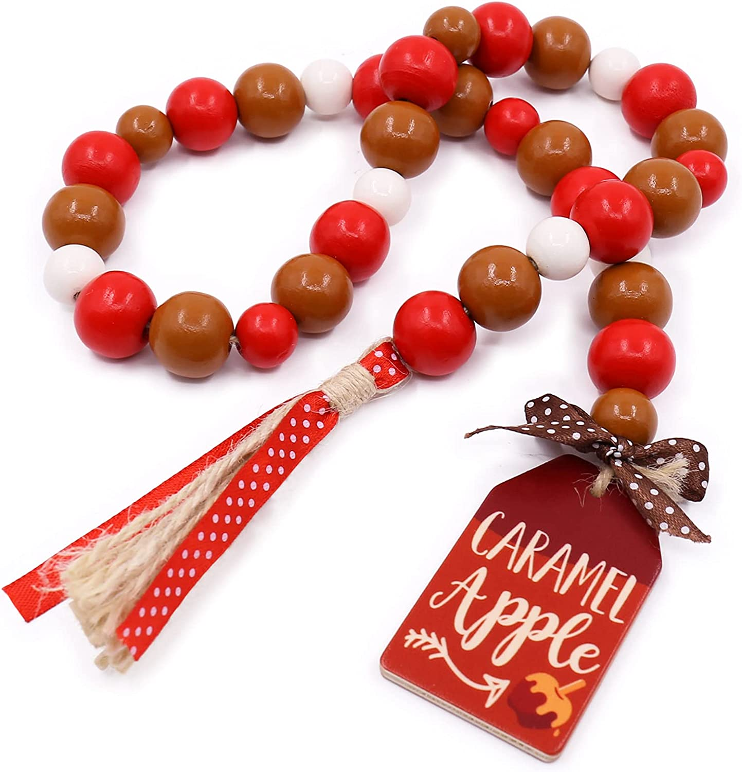 Caramel Apple Wood Bead Garland Fall Farmhouse Rustic with Jute Tassles Harvest Red Thanksgiving Natural Country Chic Décor Autumn Holiday Back to School Home Supplies Teacher Gifts