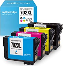 myCartridge Re-Manufactured Ink Cartridge Replacement for Epson 702XL 702 T702XL Use with Workforce Pro WF-3720 WF-3733 WF-3730 (Black Cyan Magenta Yellow, 4-Pack)