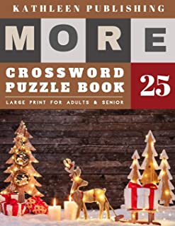 Crossword Puzzles Large Print: crosswords for beginners | More Crosswords Quiz for beginners Large Print for adults & senior | christmas snow decoration (crossword books quick)