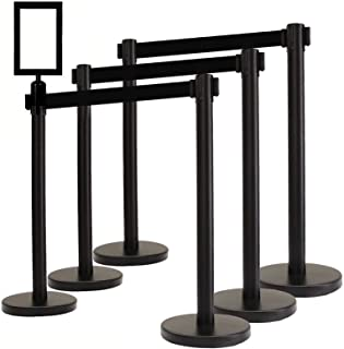 "VIP Crowd Control Retractable Belt Queue Safety Stanchion Barrier Set, 36"" Ht, 78"" Black Belt + Wall Bracket (6 Posts Bel..."