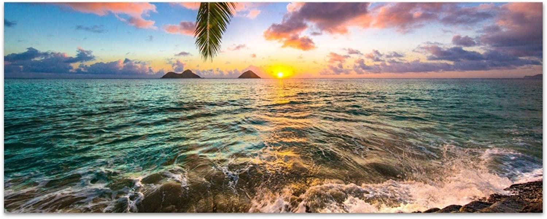 DekoGlas Glasbild 'Kailua Sunrise' Acrylglas Bild Küche, Wandbild Flur Bilder Wohnzimmer Wanddeko, einteilig 125x50 cm