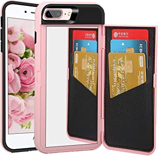NOKEA Mirror Case for Apple iPhone 8 Plus, Wallet Style Case Design with Card Holder Hidden Back Mirror Kicstand Feature Flip Back Cover Protective Case for iPhone 8 Plus/7 Plus (Pink)