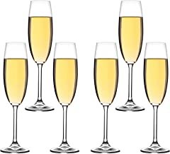 Champagne Flutes Set by Wild Magma - Flow Flute, 220ml - Set of 6 Champagne Glasses
