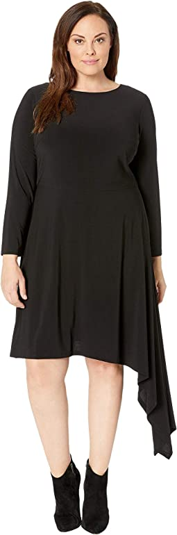 Plus Size Matte Jersey Fit and Flare with Asymmetric Skirt