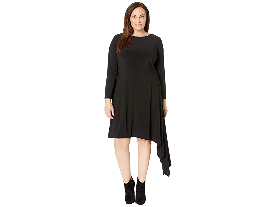 Adrianna Papell Plus Size Matte Jersey Fit and Flare with Asymmetric Skirt (Black) Women