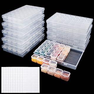 UOONY 280 Slots 10Pcs Diamond Painting Box Organizer Plastic for 5D Diamond Painting Accessories Storage Contains، Nail Diamonds Rhinestone Bead Storage with 400Pcs Label Stickers