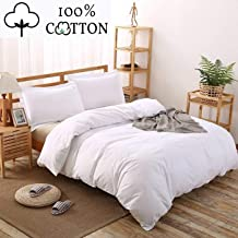 100% Cotton Duvet Cover 3 Piece Set with 1 Duvet Cover and 2 Pillow Shams Solid White King Size Set Luxury Quality Ultra Soft Breathable Comfortable Lightweight Durable Bedding with Button Closure