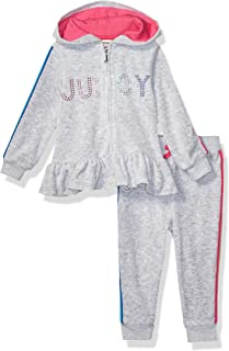 Juicy Couture Baby Girls 2 Pieces Hooded Velour Jog Set