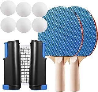 WOMGF Juego de Ping Pong Raquetas Profesional Red de Ping Pong con 6 Bolas de Ping Pong, Portátil, para Indoor Outdoor Mesa de Ping Pong Juego