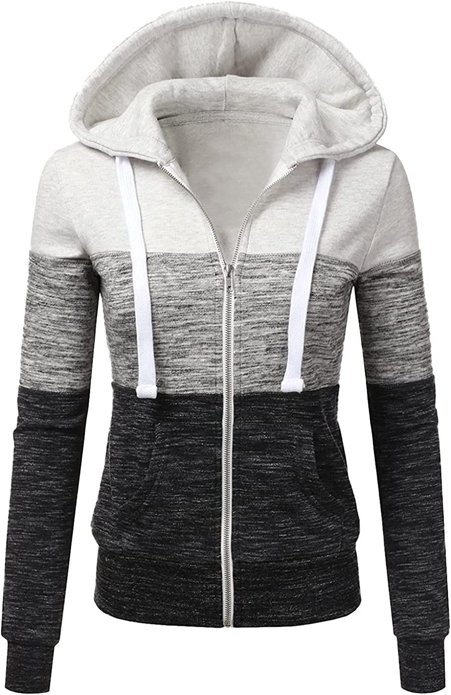 Hoodies Cardigan for Women Autumn Winter Sports Sweater Long Sleeve Zipper Hooded Sweatshirt Tops Outerwear Jacket Slim Coats