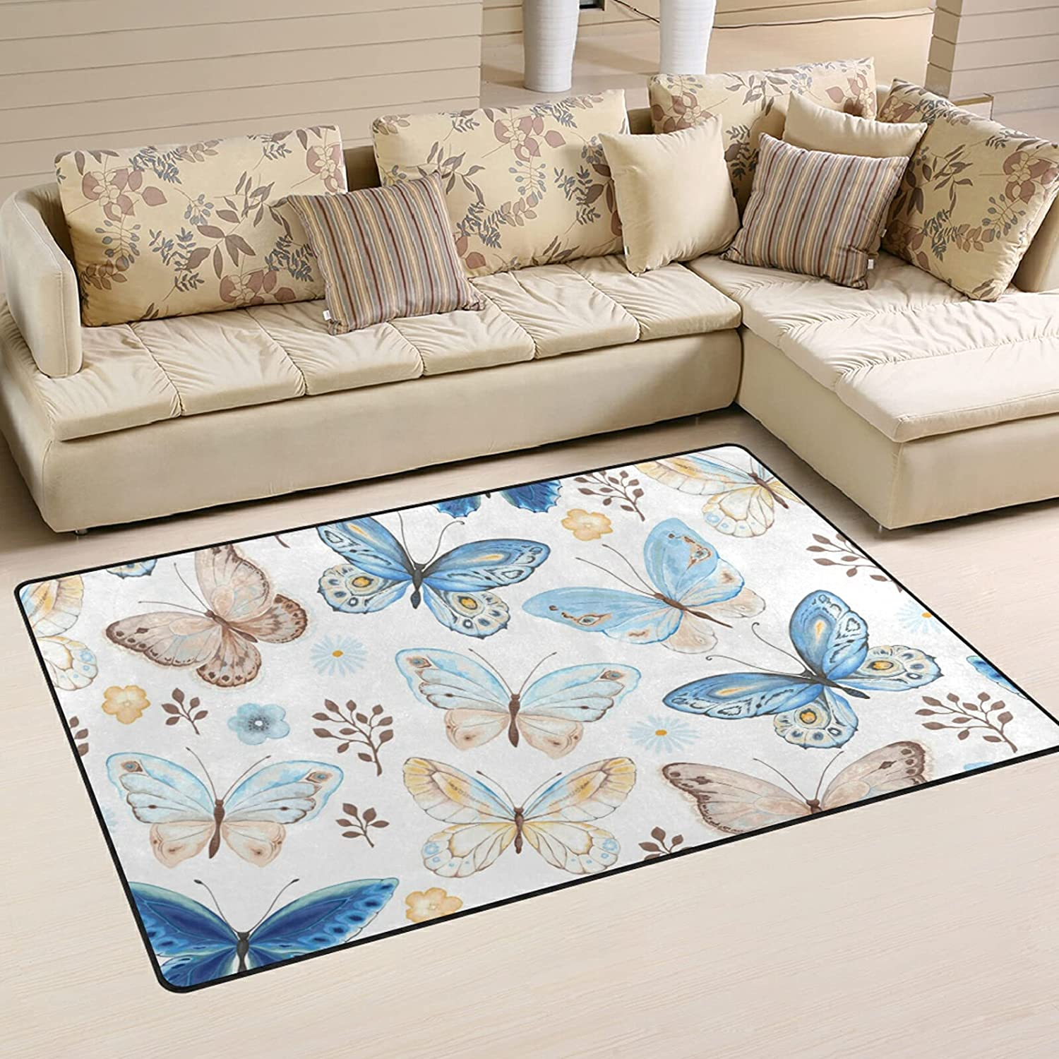 Flying Blue Butterflies Max 73% OFF Large Soft Fashionable Rugs Rug Playmat Area Nursery