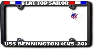 Flat Top Sailor USS BENNINGTON (CVS-20) License Frame w/REFLECTIVE TEXT & RIBBONS