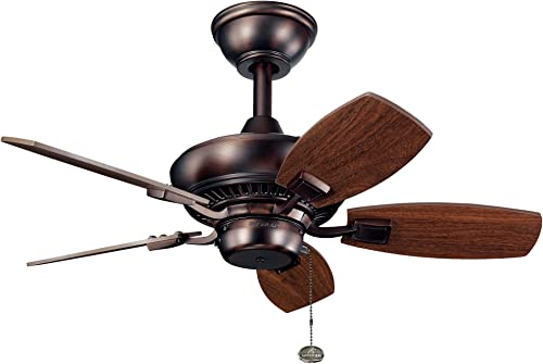 discount Kichler Lighting 2021 300103OBB Canfield - Ceiling Fan - with Traditional inspirations - 15 inches tall by 30 inches wide, Oil Brushed wholesale Bronze Finish with Cherry/Walnut Blade Finish sale