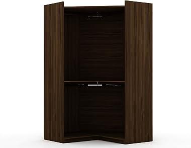"""Manhattan Comfort Rockefeller Ultra Modern Open Corner Bedroom Closet with 2 Hanging Rods, 65.91"""", Brown"""