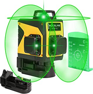 3D Self-Leveling Laser Level, 3x360° Auto Leveling Square Line Laser Tool of 2 Vertical and 1 Horizontal Rotary Green Beam Lines, Professional Rotary Laser Alignment Level Kit for Construction