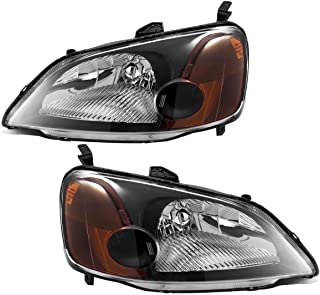 Partsam Headlight Assembly Compatible with Honda Civic 2001 2002 2003 Side Left Right Replacement Headlamp Black Housing Amber Corner Reflector Lamps (Driver and Passenger Side)