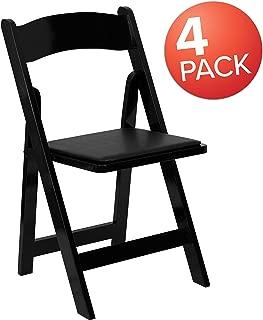 Flash Furniture 4 Pk. HERCULES Series Black Wood Folding Chair with Vinyl Padded Seat, 4-XF-2902-BK-WOOD-GG
