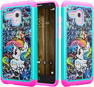 [Coverlab] Alcatel Pixi Glory,Onetouch Flint,Fierce XL,Jitterbug Smart Case, Silicone Shock Proof Hybrid Case Dual Layer Protective Cover Cute Girls Women Phone Case -Rainbow Unicorn