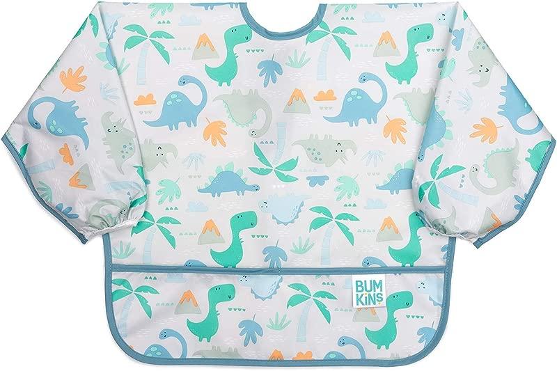 Bumkins Sleeved Bib Baby Bib Toddler Bib Smock Waterproof Washable Stain And Odor Resistant 6 24 Months Dinosaurs