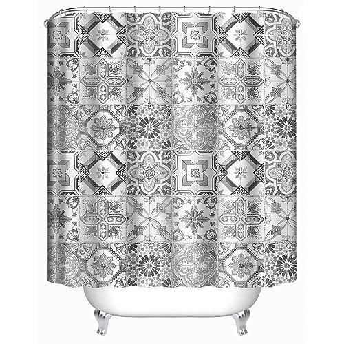 Uphome Shabby Tile Pattern Bathroom Shower Curtain