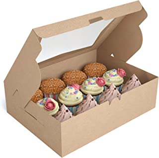 X-Chef Cupcake Boxes 12 Packs, Food Grade Kraft Bakery Boxes with Display Windows and Inserts to Fit 12 Cupcakes Muffins or Pastries, 13. 4