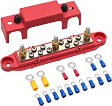 "Mofeez Bus Bar -3x1/4"" Post,10x#8 Screw Terminal Power Distribution Block with Ring Terminals(Single-Red)"