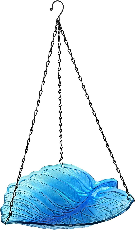 Seefun Hanging Bird Bath Outdoor Glass Garden Dish Feeder Bowl favorite D New item
