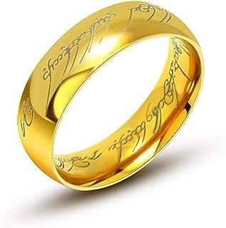 """AURSTORE® Bijoux 6MM Bague Tungstene""""Seigneur des Anneaux""""LORD OF THE RINGS"""" Taille au choix56-68 AVEC CHAINE EN ACIER DE ..."""