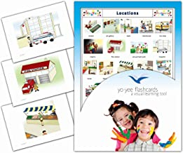 Yo-Yee Flashcards - Locations and Places Around Town Flash Cards - Vocabulary Picture Cards for Toddlers, Kids, Children and Adults