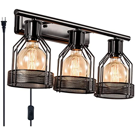 Amazon Com Gladfresit Industrial Bathroom Vanity Light Plug In 3 Lights Retro Cage Wall Sconce With Cord Metal Shade Vintage Wall Lights Fixtures For Indoor Home Dressing Table Mirror Cabinet Bulb Not Included
