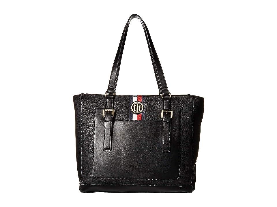 Tommy Hilfiger Imogen Pebble PVC Tote (Black) Handbags