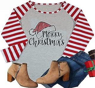 HRIUYI Plus Size Merry Christmas Shirts Womens Cute Santas Hat Long Sleeve Striped Splicing Baseball T-Shirt Tops Tees